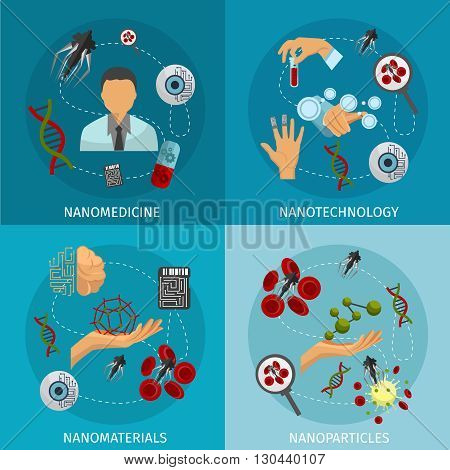 Four nanotechnology icon set with descriptions of nanomedicine nanotechnology nanomaterials and nanoparticles vector illustration