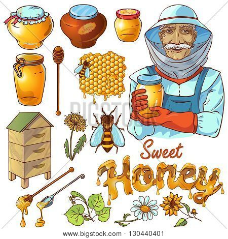 Hand drawn honey icon set with beekeeper bees who make honey and their habitats vector illustration