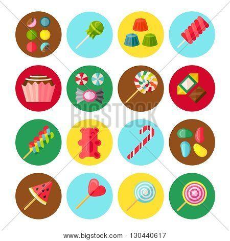 Sweet candy flat isolated icon set with several kinds of sweets in circles or buttons vector illustration