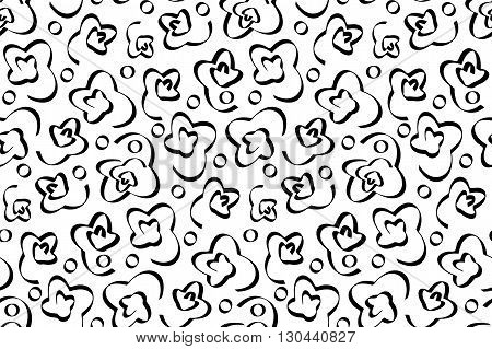 Seamless pattern with black abstract ornament with volute on white background. Colored variations of pattern in swatch panel. Design for textile, wrapping paper, wall papers. Vector illustration