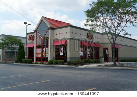 JOLIET, ILLINOIS / UNITED STATES - AUGUST 16, 2015: One may eat roast beef sandwiches at Arby's Restaurant in Joliet.
