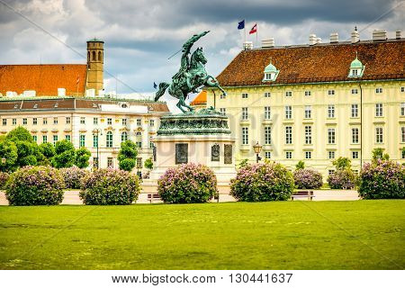 Heldenplatz with Archduke Charles monument and Hofburg palace in Vienna