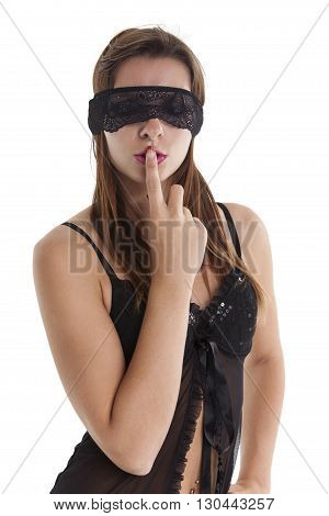 blindfolded woman in underwear on white background