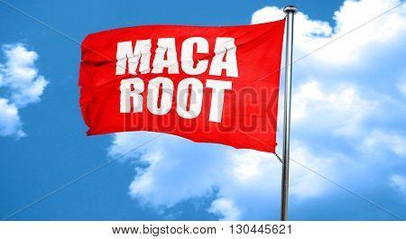 maca root, 3D rendering, a red waving flag