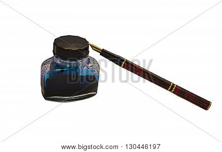 A bottle of ink and pen isolated on white background