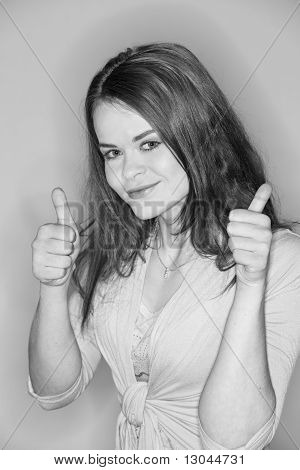 Brunette Showing Thumbs Up