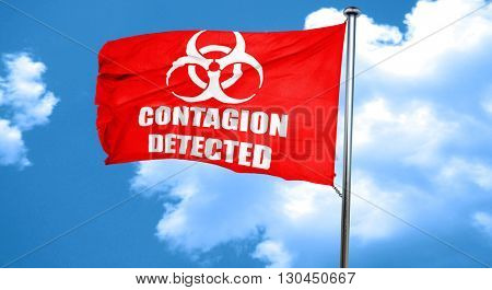 Contagion concept background, 3D rendering, a red waving flag