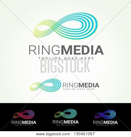 Ring Media Logotype and Tagline. Vector template.
