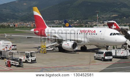 FLORENCE ITALY - CIRCA APRIL 2016: Airbus A 319 aircraft of the Iberia airlines parked at the airport ready for boarding
