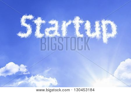 Startup cloud word with a blue sky