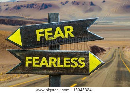 Fear - Fearless crossroad in a desert background