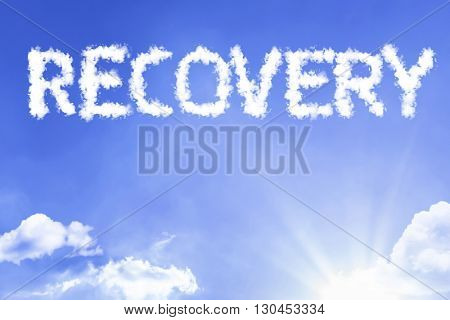 Recovery cloud word with a blue sky