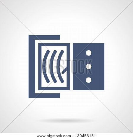 Ammeter with dial gauge. Electrical measuring equipment, accurate measurement of current strength. Metrology science, Technics and engineering. Symbolic blue glyph style vector icon. poster