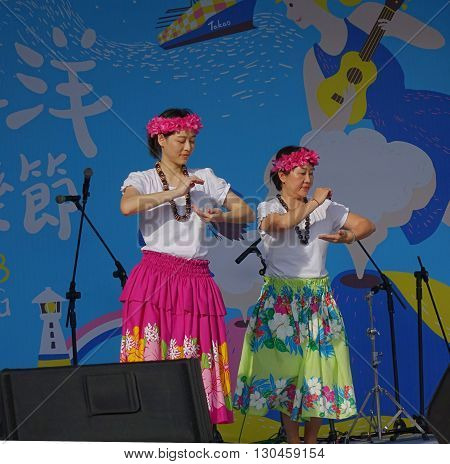 Female Dancers Perform A Hawaiian Dance