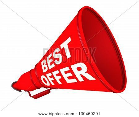 Best offer. Red megaphone with the inscription
