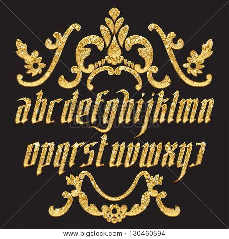 Gold glitter typeface. New modern gothic font. Gothic letters with decoration elements. Vector alphabet
