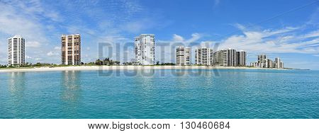 The beautiful skyline of Singer Island, Florida, as seen from the Atlantic Ocean, near West Palm Beach.