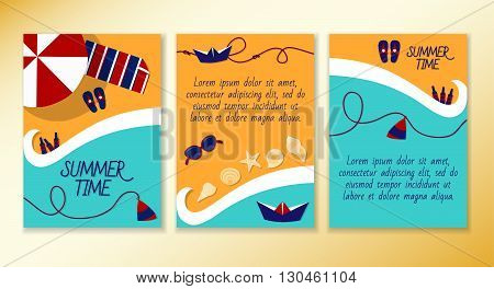 Set of leaflets on a summer theme of the sea. Beach vacation resorts. Ready to Print. Front page and back page.