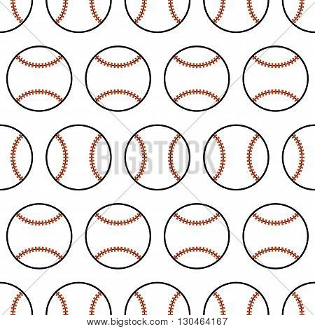 Baseball. Seamless pattern with sport balls. Vector illustration