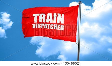 train dispatcher, 3D rendering, a red waving flag