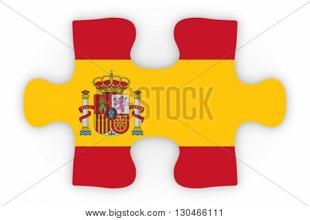 Spanish Flag Puzzle Piece Top Down Orthographic 3D Illustration