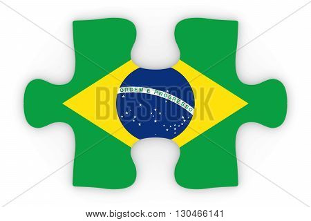 Brazilian Flag Puzzle Piece Top Down Orthographic 3D Illustration