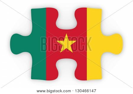 Cameroonian Flag Puzzle Piece Top Down Orthographic 3D Illustration