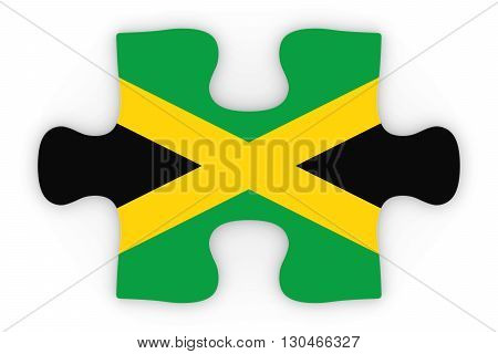 Jamaican Flag Puzzle Piece Top Down Orthographic 3D Illustration