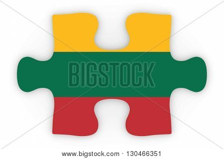 Lithuanian Flag Puzzle Piece Top Down Orthographic 3D Illustration