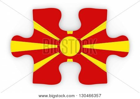 Macedonian Flag Puzzle Piece Top Down Orthographic 3D Illustration