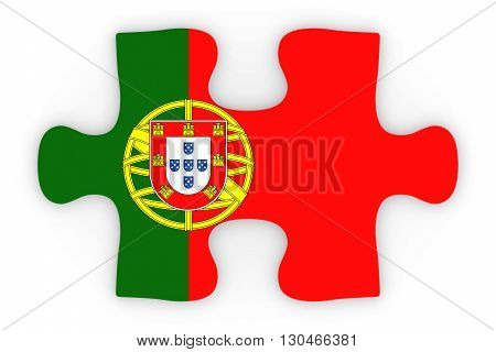 Portuguese Flag Puzzle Piece Top Down Orthographic 3D Illustration