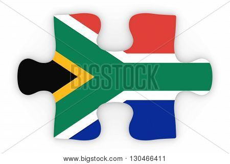 South African Flag Puzzle Piece Top Down Orthographic 3D Illustration