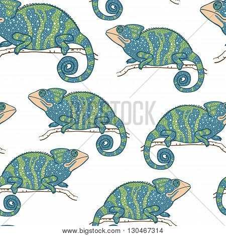 Seamless wallpaper with chameleon isolated on white. Green and blue masquerading lizard. Seamless pattern with han drawn chameleon