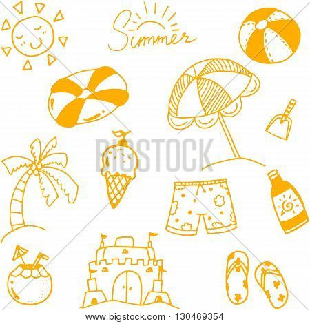 Hand draw summer doodle art for kids