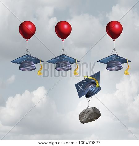 Education challenge burden and school debt concept as a group of mortarboards or graduate cap being lifted higher with one sinking weighted down by a rock with 3D illustration elements.