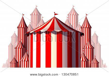 Circus tent group element concept in a horizontal carnival composition as an entertainment and amusement symbol for a festive special event celebration isolated on a white background as a 3D illustration.