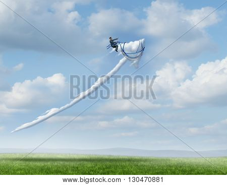 Business leadership success metaphor as a businessman riding and controlling a cloud shaped as an upward moving arrow as a symbol for successful management and strategy with 3D illustration elements.