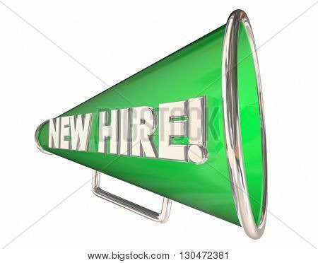 New Hire Bullhorn Megaphone Employee Welcome 3d Illustration