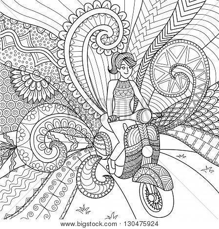Girl driving scooter clean lines doodle design for coloring book for adult