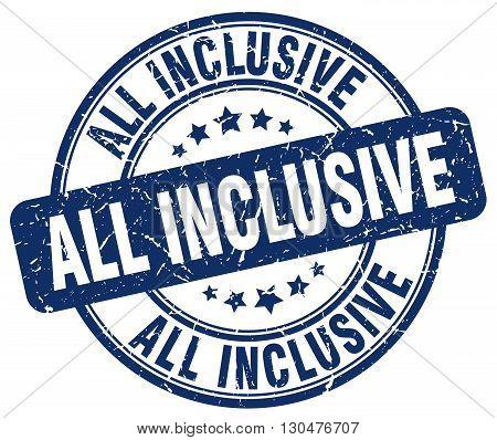all inclusive blue grunge round vintage rubber stamp