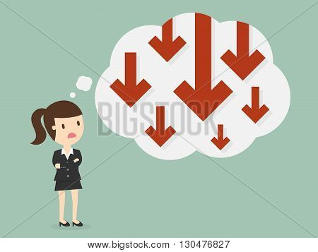 Business failure. Young worried businesswoman thinking about business graph with negative trend