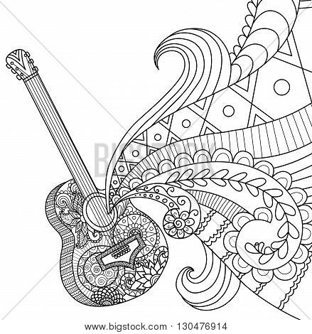 Doodles design of Guitar for coloring book for adult, poster, banner and so on - Stock Vector
