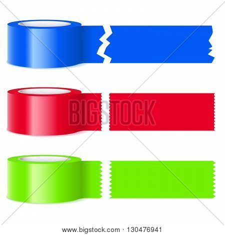 Three rolls of colorful tape with assorted perforations on severed sections isolated on white