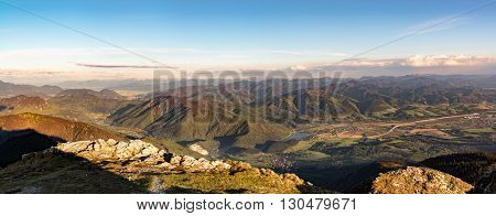 Panoramic View Of Slovak Amazing Mountainous Landscape At Sunset
