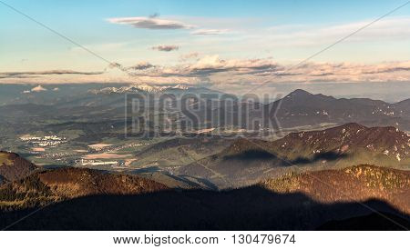 Slovak Mountainous Landscape At Sunset