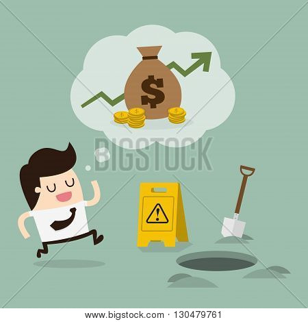 Careless businessman. Financial Loss Concept. Risk concept
