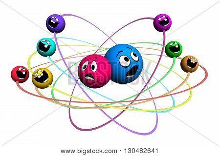 3D illustration Molecule consisting of varicoloured smile