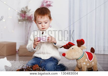 Little Boy Among Christmas Decorations