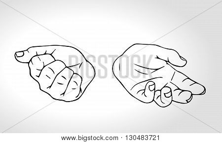 Two hands with open fist and close fist. Soncept of choice. Squeezed in a fist. Outline vector illustration