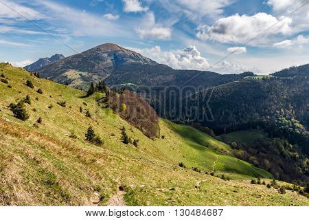 Gorgeous Spring Mountain Landscape With Blue Sky And Clouds